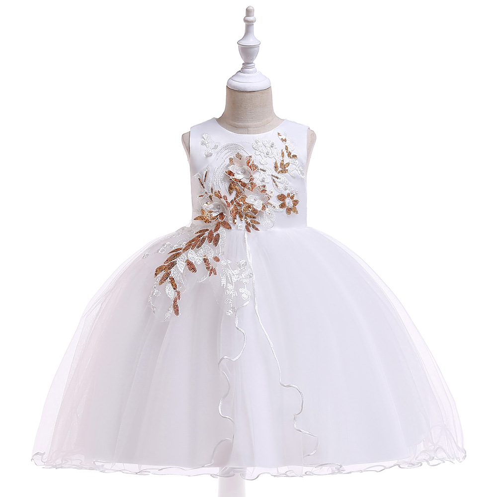 New white Tank Sleeveless Little   Girls   First Communion Appliques   Flower     Girl     Dresses   Gowns Tulle Kids Party   Dresses