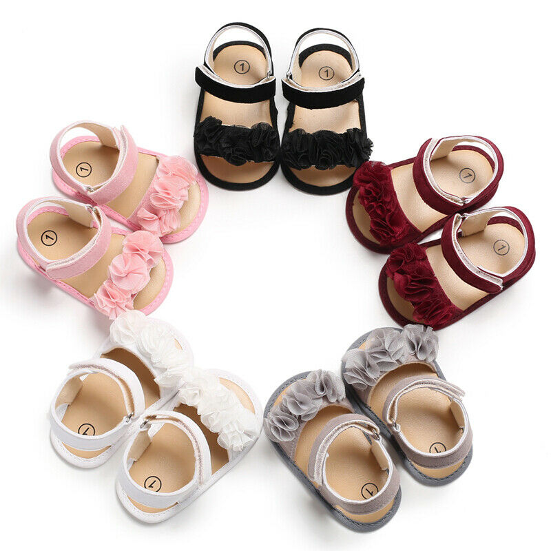 2019 Summer Sweet Baby Girl Flower Sandals Infant Toddler Soft Sole Shoes Princess Lace Flower Baby Girl Shoes Flat Sole 0-18M