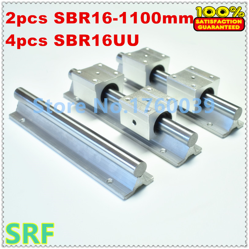 SBR16 linear guide rail set:2pcs SBR16 L=1100mm linear shaft rail support+ 4pcs SBR16UU Linear Motion Bearing Blocks for CNC 2pcs sbr16 l 500mm linear shaft rail support with 4pcs sbr16uu linear motion auminum bearing sliding block for router part