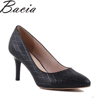 Bacia 100 Genuine Leather Shoes Pointed Toe Sexy Silver Full Grain Leather Pumps New Designer 2017