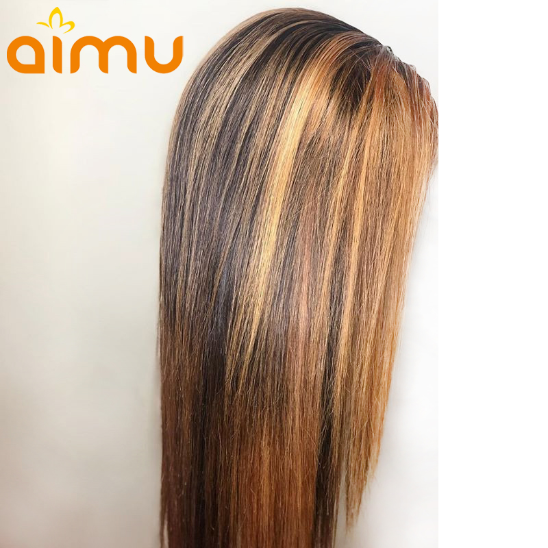Honey Blond Ombre Color Highlight T4 27 360 Lace Frontal 100 Human Hair Wigs Women Remy