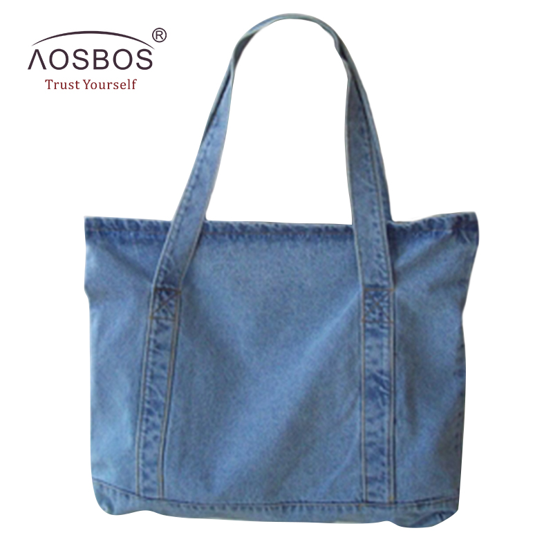 Aosbos Women Canvas Handbags Designer Ladies Denim Blue Shoulder Bags Tote High Quality Large Capacity Handbag aosbos fashion portable insulated canvas lunch bag thermal food picnic lunch bags for women kids men cooler lunch box bag tote