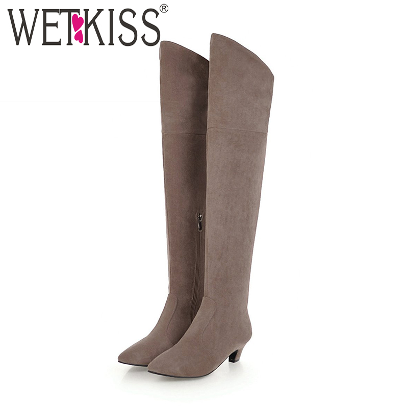 WETKISS Plus Size 34-48 Thick Heesl Boots Pointed Toe Footwear Flock Over The Knee Female Boot Stretch Shoes Woman 2018 WinterWETKISS Plus Size 34-48 Thick Heesl Boots Pointed Toe Footwear Flock Over The Knee Female Boot Stretch Shoes Woman 2018 Winter