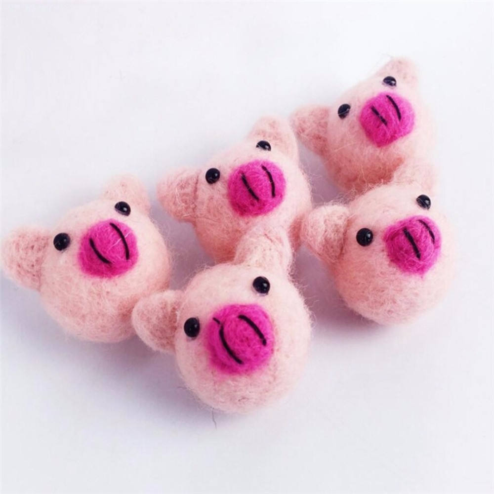 Lovely Wool Felt Ball Pig 10PC DIY Gifts Guests Fashion Children Birthday Party Decorations Supplies Baby Nursing Accessories