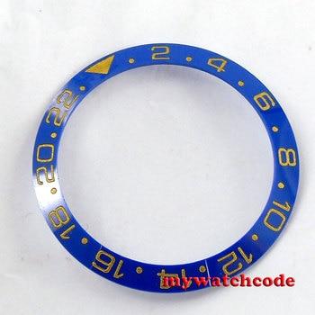 38mm azul cerámica bisel amarillo marcas insertar para 40mm sub GMT hombres reloj Be42