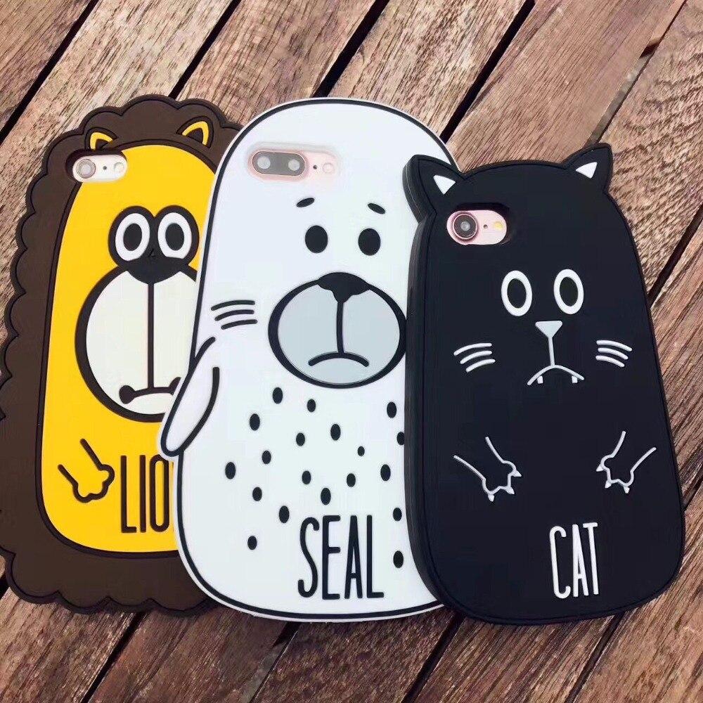 Для iPhone 6 6 S плюс 7 Plus силиконовый чехол печать морской лев мультфильм 3D мягкая задняя крышка кремния случаях мобильные аксессуары Shell
