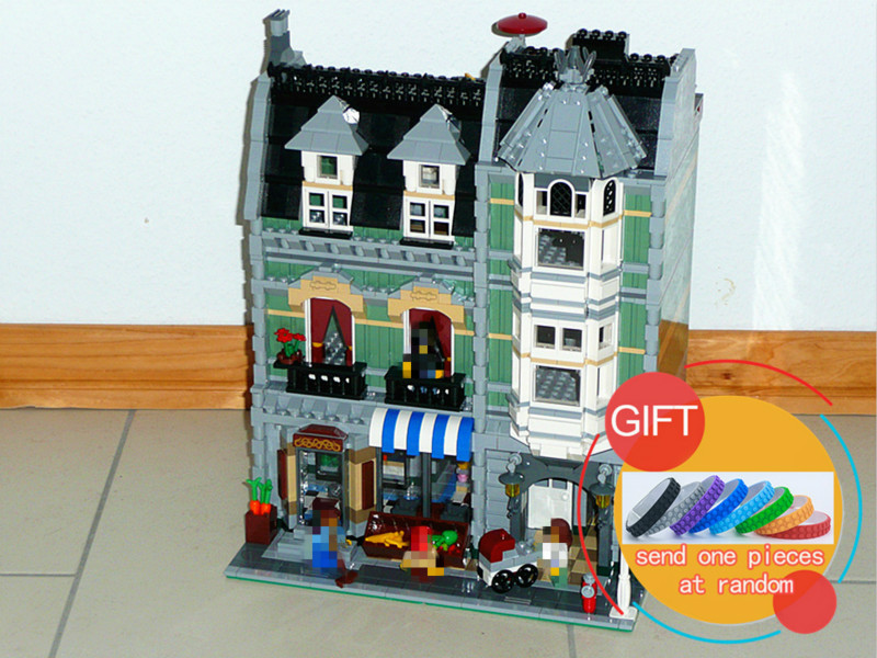 15008 2462Pcs City Street Green Grocer set Model Building Kits Blocks Compatible Educational with 10185 Toys lepin lepin 15008 2462pcs city street green grocer legoingly model sets 10185 building nano blocks bricks toys for kids boys