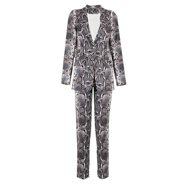 Kylie Jenner Snake-Print Pants Suit Designer Quality Two-Button Snakeskin Cotton Twill Peak Lapel Jacket Skinny Pants 2 Piece Set 2