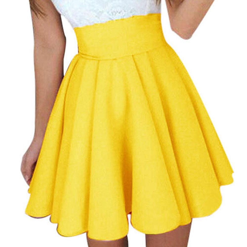 Saia Womens Solid Skirt Ladies Casual ball gown Mini Short Skirt Simple  High Waist Party Cocktail Tutu Skirt Faldas Mujer  Z 49f5b85eb0b7