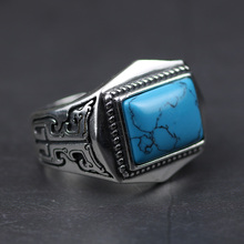 Genuine 925 Sterling Silver Rings For Men Inlaid Natural Stone Mens Ring Polygon Vintage Design Adjustable Turkey Jewelry 21 30 16mm natural ore turquoise inlaid vintage rings 925 sterling silver inlaid jewelry gem free shipping