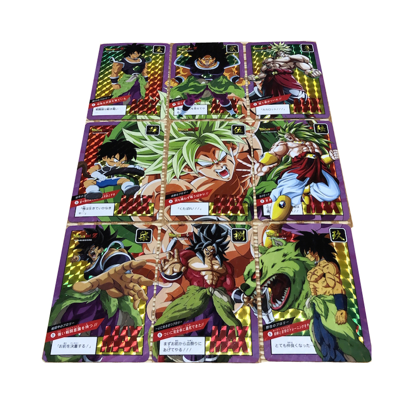 9 Spelling Cards Dragon Ball NEW Goku Broly Flash Card Action Toy Figures Commemorative Edition Game Flash Card Collection Cards(China)