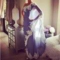 Árabe Dubai Abaya Vestidos de Noche Largos de Un Hombro Arabia Blanco Apliques de Encaje Gasa de La Lavanda Vestidos de Fiesta Formal Vestido de Fiesta