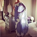 Árabe Dubai Abaya Vestidos de Noite Longo de Um Ombro Lace Branco Applique Arábia Lavender Chiffon Vestidos de Festa Formal do baile de Finalistas do Vestido