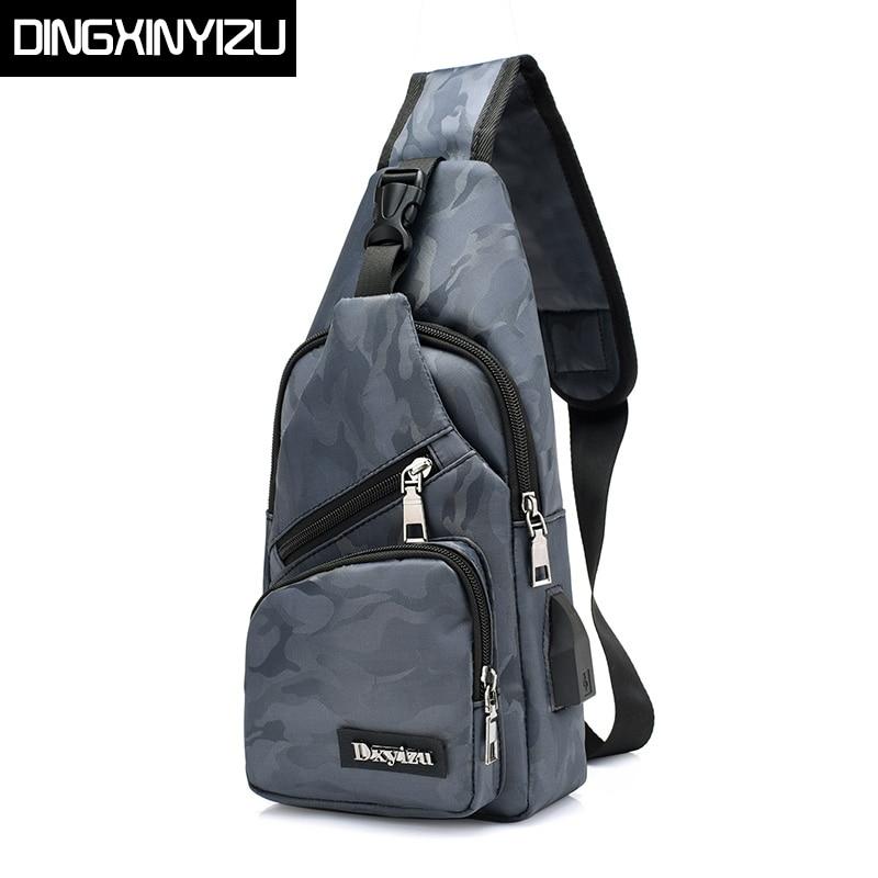 DINGXINYIZU Brand Camouflage Waterproof Nylon Men Chest Pack Small Sling Messenger Shoulder Bag Casual Travel Rucksack Chest Bag casual canvas satchel men sling bag