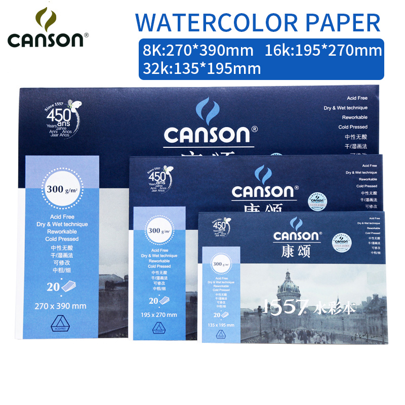Canson 300g/m2 Professional Watercolor Paper 8K/16K/32K 20Sheets Hand Painted Watercolor Book Creative Office school Supplies