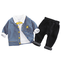 Baby boys Clothes Sets Spring Clothing Cotton Cardigan +shirt + pants 3pcs gentleman Suit for boy Kids 3 4 Years children outfit