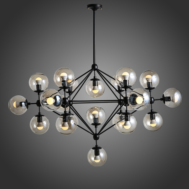 Vintage magic beans DNA Lustres wrought iron industrial Cafe project lamps Nordic Art Deco glass ball MOD pendant hanging lights