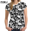 FORUDESIGNS Black Skull Print Women T-shirt Summer Style Short Sleeve Comfort Cothing Feminine For Girls Femme Camiseta Feminina