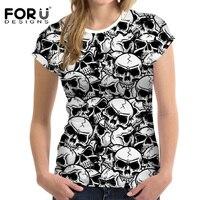 FORUDESIGNS Black Skull Print Women T Shirt Summer Style Short Sleeve Comfort Cothing Feminine For Girls