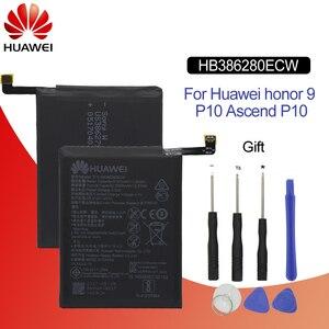 Image 1 - Оригинальный аккумулятор для телефона Hua Wei HB386280ECW 3100 мАч для Huawei honor 9 Ascend P10, высококачественные аккумуляторы, розничная упаковка + Инструменты