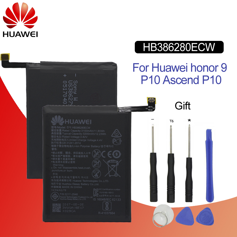 Hua Wei Original Phone Battery HB386280ECW 3100mAh For Huawei honor 9 Ascend P10 High Quality Batteries Retail Package +Tools-in Mobile Phone Batteries from Cellphones & Telecommunications
