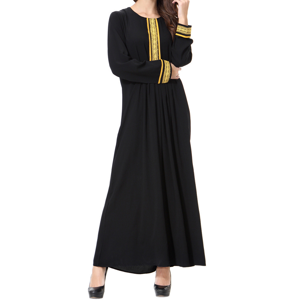 2018 Women Long Ethnic Clothing Muslim Arab Dresses Solid Color Embroidery Traditional Fashion Mid-East Islam Cloths Long Robes