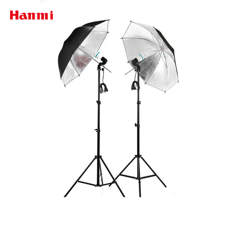 Free Shipping Photographic Equipment Clothing Shoot Photography Set 2m Light Stand Reflector Umbrella Socket Adapter