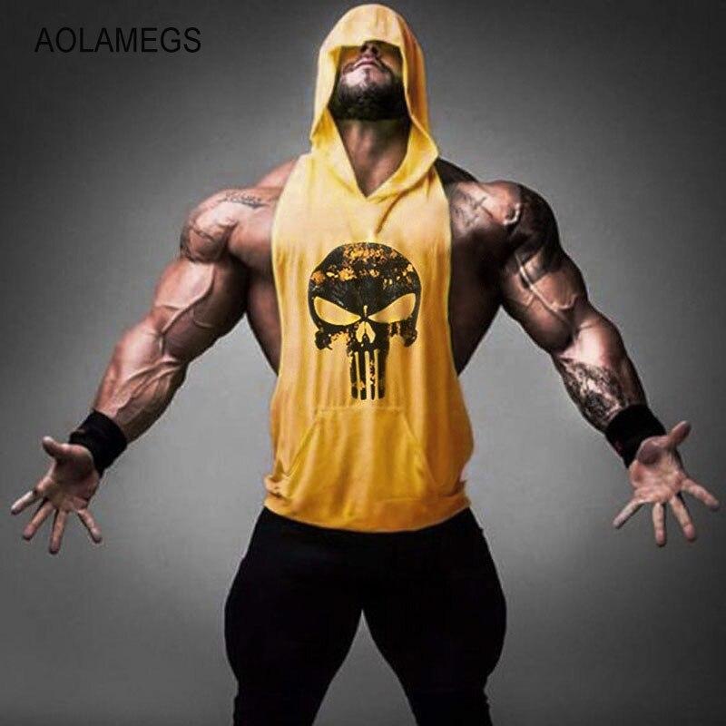 Aolamegs Uomini Palestre Hoodie Bodybuilding Canottiera Fitness Muscolare Stringer Canotta Senza Maniche Canotte Palestre Maglia degli uomini di Abbigliamento Sportivo