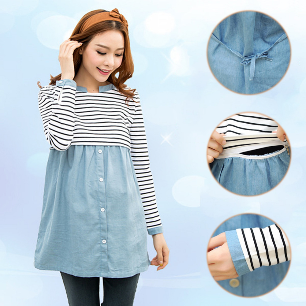 все цены на Fashion Spring Maternity Clothes Patchwork Long Sleeve Nursing T-Shirts For Pregnant Women Striped Casual Breastfeeding Tops