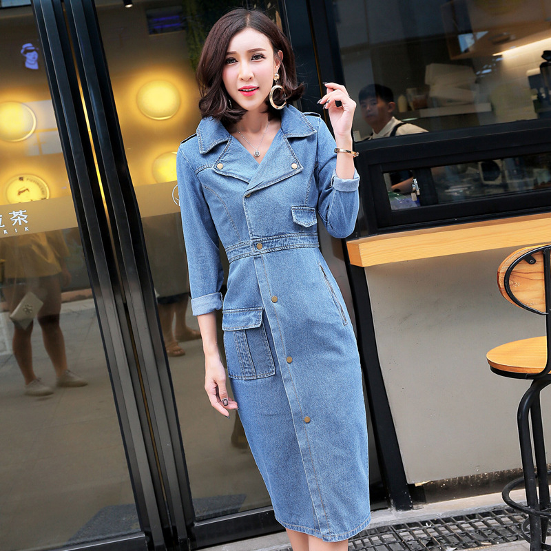 Women casual notched slim long denim   Trench