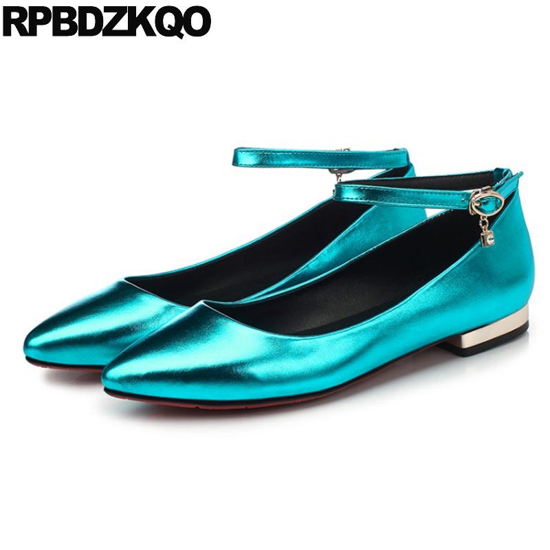 Embellished Fashion Ladies Flats 2017 Pointed Toe Women Plain Ankle Strap Shallow Beautiful Shoes Blue Low Heel Metallic Latest flock women flats 2017 pointed toe ladies single shoes fashion shallow casual shoes plus size 40 43 small yards 33 sapatos