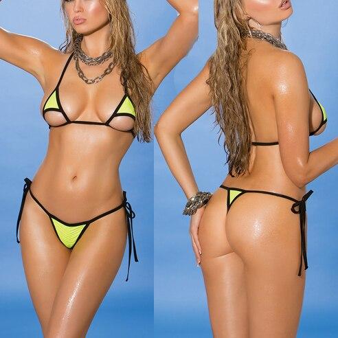 30f19b55333 Biquini Women swimwear Mini Bikinis Set Female Swimsuit Extreme Minimal  Coverage