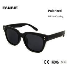 ESNBIE Vintage TR90 Plastic Memory Square Sunglasses Korean Fashion Mirror Male Oculos UV400 Polarized Glassess 2017