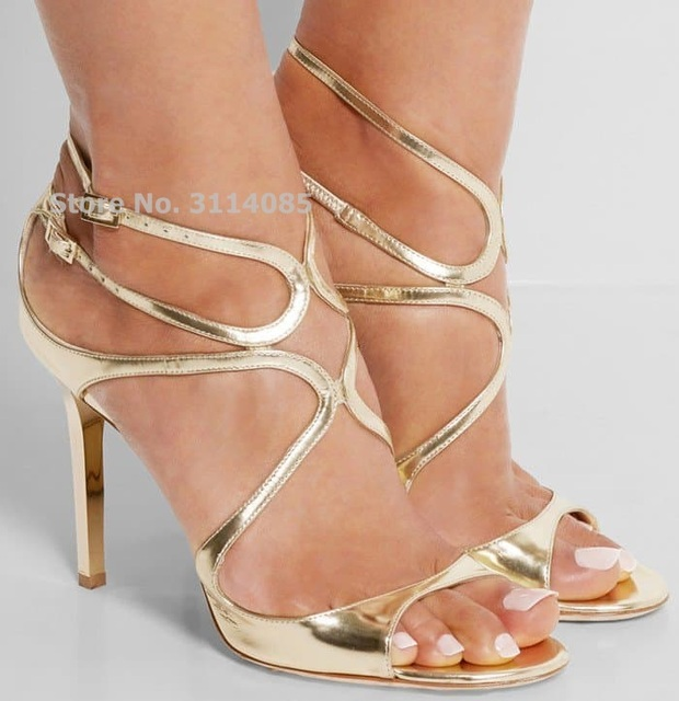 Celebrity Hot Selling Thin Strappy Gladiator Sandals Stiletto Heels Orange Nude Gold Cage Dress Shoes Covered Heel Wedding Pumps