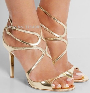 Celebrity Hot Selling Thin Strappy Gladiator Sandals Stiletto Heels Orange Nude Gold Cage Dress Shoes Covered Heel Wedding Pumps(China)