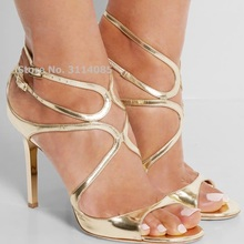 Celebrity Hot Selling Thin Strappy Gladiator Sandals Stiletto Heels Orange Nude