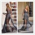 AC005   Gossip Girl Blake Lively fashion Grey Long Sleeves Lace Beaded Celebrity Dress