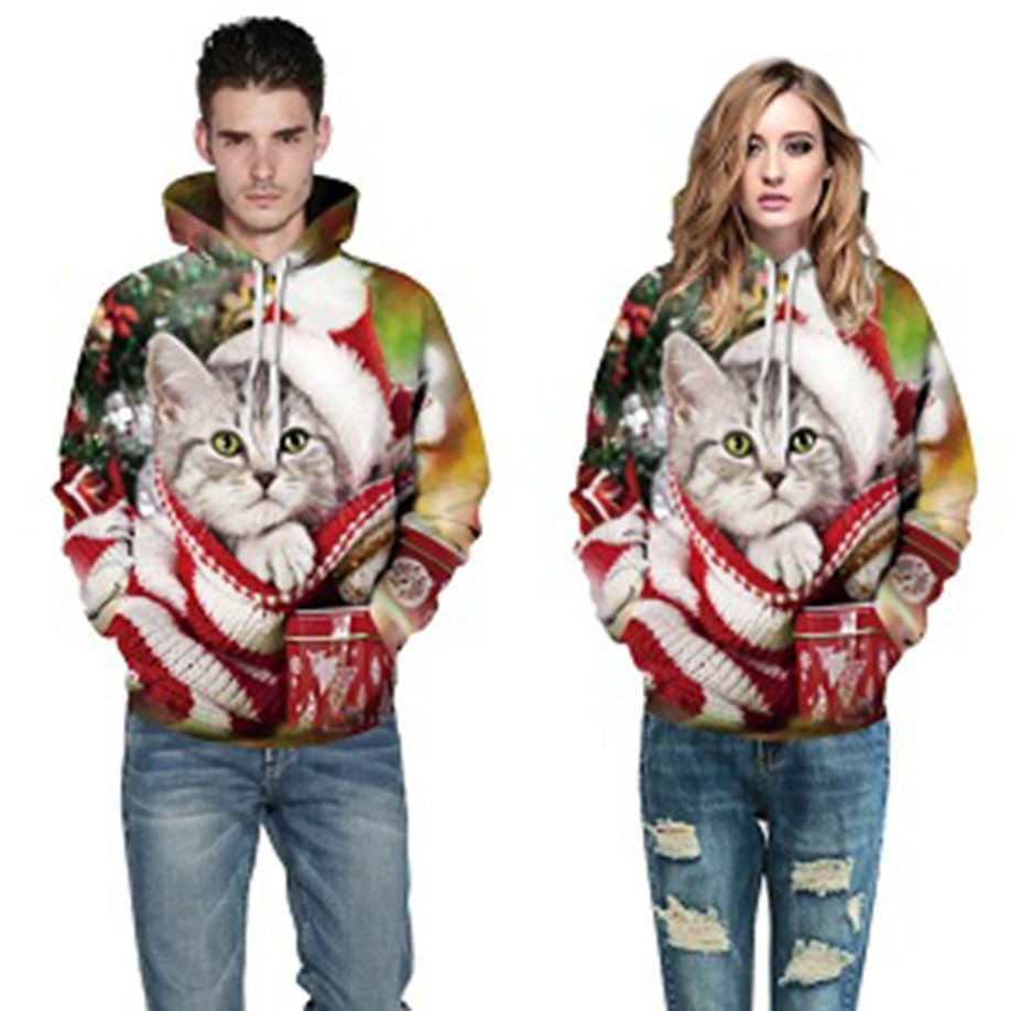 Feitong Bts Fashion Carries on Cat Printed Animals Women Men Christmas Xmas 3D Pet Printed Sweatshirt Pullover Hoodies Tops