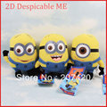 "2D Despicable ME Movie Plush Stuffed Toy Doll 7 inch "" 17cm Minion Jorge Stewart Dave,3pcs/1set"