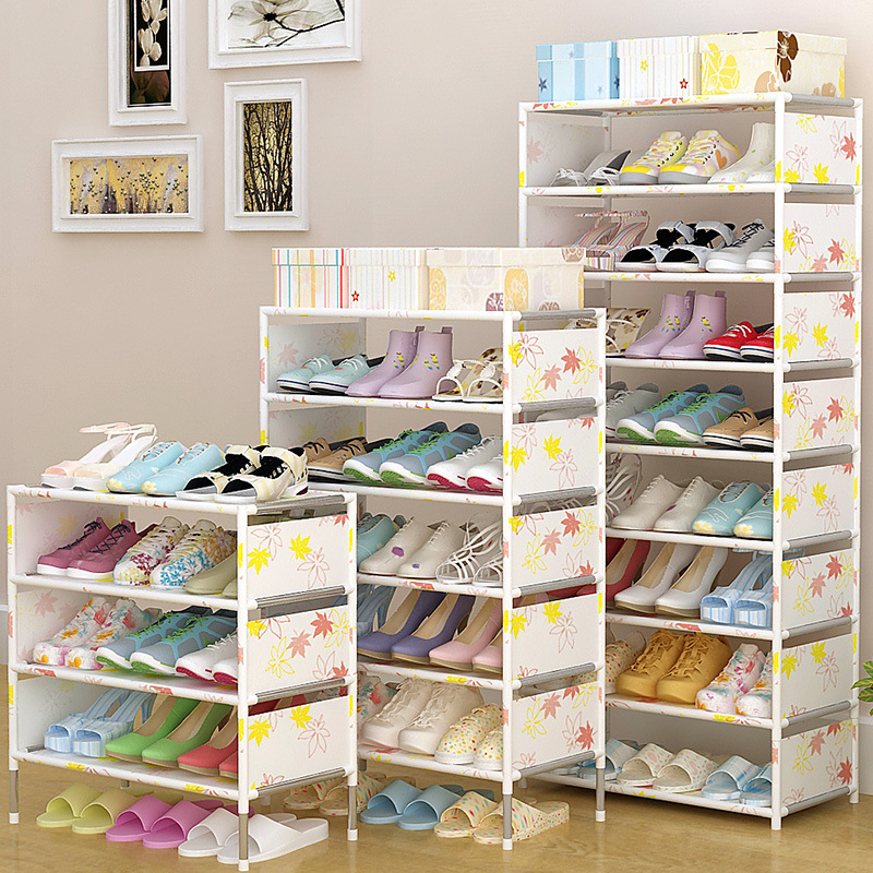 Multi Layers Simple Shoe Rack Nonwoven Fabric Steel Tube Assembled Shoes Storage Cabinet Hallway Space Saving Shoe Organizer