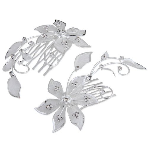 2 Silver Plated Flower Rhinestone Crystal Wedding Hair Comb Pin Tiara