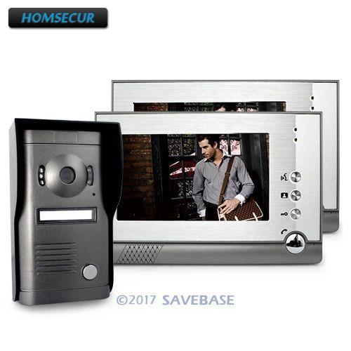 HOMSECUR 7 Video Doorphone Intercom Doorbell Home Security 1Camera 2Monitor Night Vision