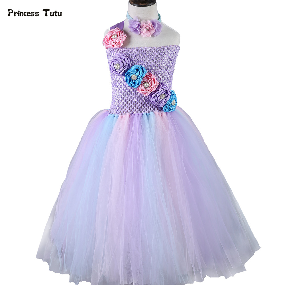 Cute Lavender Tulle Princess Dress Girl Party Birthday Tutu Dress Kids Pageant Ball Gowns For Girls Wedding Flower Girl Dresses