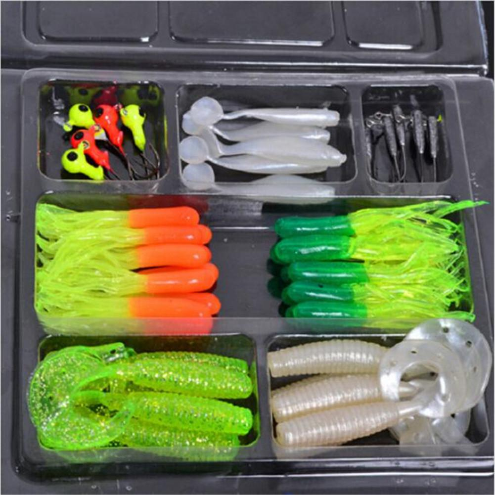 Mounchain 35Pcs Soft Worm Fishing Baits + 10 Lead Jig Head Hooks Simulation Lures Tackle Set Fishing Tools Tackle Box