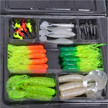 Mounchain 35Pcs Soft Worm Fishing Baits + 10 Lead Jig Head Hooks Simulation Lures Tackle Set Fishing Tools Tackle Box