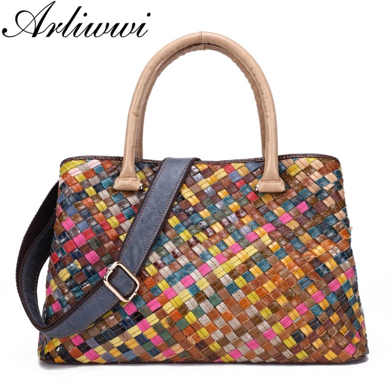 Arliwwi Brand Elegant Big Cow Leather Handbag High Quality Handmade Knitting Genuine Leather Tote Bags For