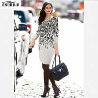 Autumn Winter Women Printed sweaters Round neck Long sleeves Women's Casual sweaters Work Business Office Party Bodycon sweater