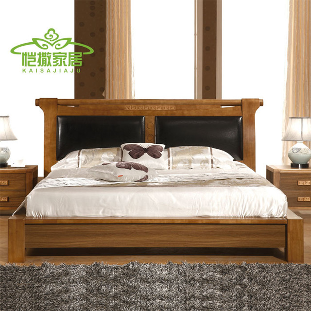 Residential Modern Chinese Furniture Wood Bed Double Bed 1 5 M Soft