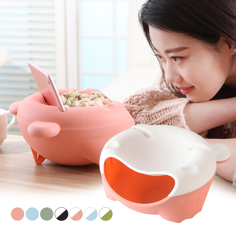 Creative Snacks Dry Fruit Melon Opened Holder Storage Box Nut Plate Tray Garbage Home Table Supplies @LS