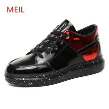 MEIL 2018 Men Platform Casual Flats shoes Lace Up Patent Leather mens casual winter sneakers for men